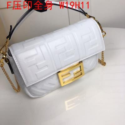 cheap quality Fendi Bags full embossed F Logo White
